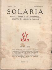 SOLARIA. ANNO QUARTO - N. 5 - MAGGIO 1929 – LETTERATURA ITALIANA RIVISTE