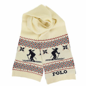 Polo Ralph Lauren Nordic Ski Skier Lambswool Scarf - Cream -