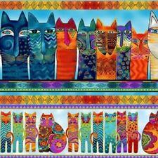 Laurel Burch Feline Frolic Pictorial Stripe Multi Color w/Metallic Y2797-55M BTY