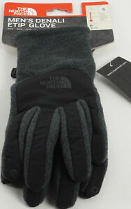 New The North Face Denali ETIP Men's Small Grey UR Powered Fleece Winter Gloves