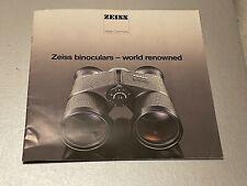Zeiss Binoculars,  8 x 8 In, 22 Page Brochure, 1986 Approx