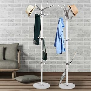 White Metal Hat Coat Umbrella Stand Clothes Storage Rack Holder 1.7m Racks Hooks