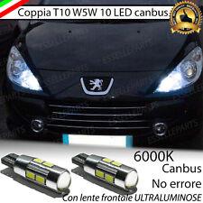 COPPIA LUCI POSIZIONE 10 LED PEUGEOT 307 CC T10 CANBUS NUOVO MODELLO NO ERROR