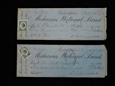 1877 CANCELLED CHECKS (LOT OF 2) MECHANIC'S NATIONAL BANK WITH IRS STAMPS