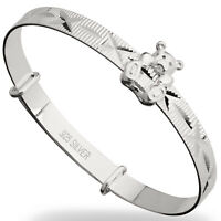 Personalised 925 Sterling Silver Christening Teddy Bangle Birthday Baby Bracelet