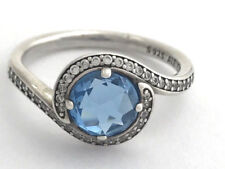 Authentic Pandora Radiant Embellishments Blue Crystal Ring 190968NBS-54, 7 New