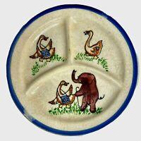 Vintage Divided Childs Plate Elephant Goose W/Satchel Blue Rim Japan