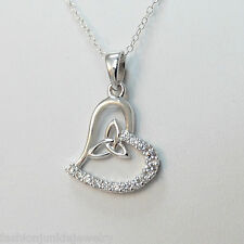 Celtic Knot Heart Necklace - 925 Sterling Silver CZ Stones - Trinity Knot Love