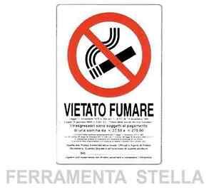 CARTELLO ETICHETTA PLASTICA 30X20CM VIETATO FUMARE DIVIETO DI FUMO CON LEGGE