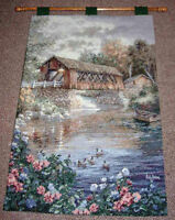 Covered Bridge Country Thoroughfare Tapestry Wall Hanging ~ Artist, Nicky Boehme