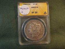 1903S VF20 ANACS Morgan silver dollar scarce date, 1903 S 1903-S