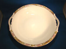 NORITAKE Nippon Serving Bowl Hand Painted White Floral Gold Trim Green M @H