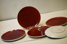 "Italian Pottery Plates Majolica 8 1/8"" Rust Red Color Signed 02230 Italy 5 Plts"