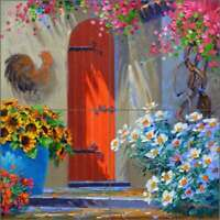 Floral Tile Backsplash Mikki Senkarik Art Ceramic Mural MSA177