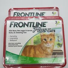 Frontline Plus Flea and Tick Control for Cats LOT of 2! 6 Dose AND 3 Dose=9 dose
