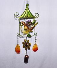 "New 21"" Chickadee Bird in Bird House Glass & Metal Bell Hanging Wind Chime"