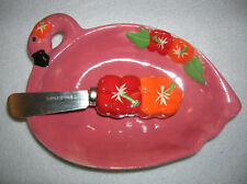 new serving dish pink flamingo  spreader dip cheese Aloha gift ceramic C22