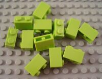 New LEGO Lot of 12 Lime Green 1x2 Bricks