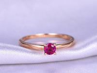 0.35ct Round Pink Ruby Engagement Ring Minimalist Solitaire 14k Rose Gold Finish