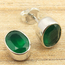 Piercing Stud Earrings 925 Silver Plated A Pair Fashion Green Onyx Gems Small