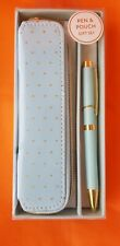 Eccolo Pen & Pouch Gift Set, 2019, Aqua and gold polka dot with zip closure