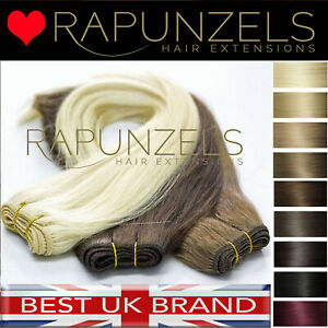 Weft weaving hair extensions so sew in clip in human RAPUNZELS Salon remy hair