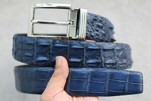 "W 1.5"" Blue Genuine Alligator CROCODILE Leather Skin MEN'S Belt"
