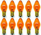 Box of 10 Bulbs 7C7/TA/120V 7 Watt 120 Volt Screw Base E12 Amber Nightlight