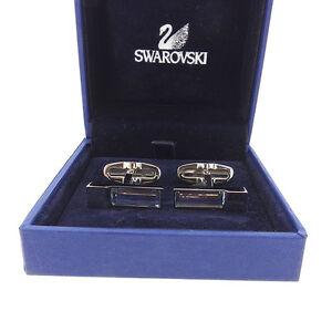 SWAROVSKI cuffs Blue Silver Mens Authentic Used Y5363