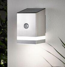 Solar LED Wandleuchte Wandlampe mit Bewegungsmelder Strahler Edelstahl SO23