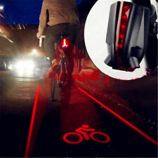 Cycling Bike Bicycle 5 LED 2 Laser Beam Rear Tail Light 3 Modes Safety Lamp New