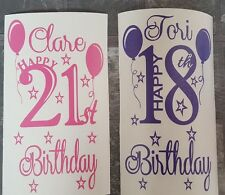 Birthday 1st 18th 21st 30th 40th 70th any number Vinyl Decal Wine Bottle Sticker