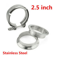 2.5'' Stainless Steel V-Band Flange & Clamp Kit Universal Turbo Exhaust Downpipe