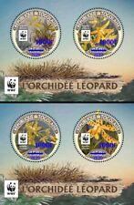 More details for togo flowers stamps 2020 mnh leopard orchid wwf orchids blue ovpt 2x 2v m/s