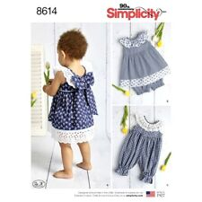 Simplicity Sewing Pattern 8614 Babies Girls XXS-L Dress Romper and Panties