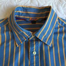 """BODEN MENS SHIRT, UK size Large, 16"""" collar, blue & orange horizontal stripe."""