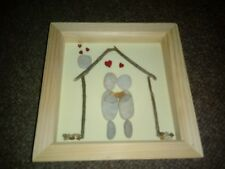 New baby family personalised  gift pebble art  frame