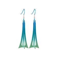 Titanium Green 3 Dimensional Drop Earrings