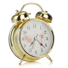 Night light Classic Silent Metal Double Bell Desk Alarm Clock Movement Bedside