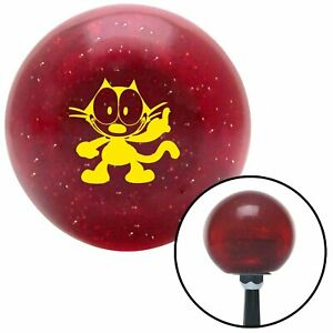 Yellow Felix The Cat Middle Finger Red Metal Flake Shift Knob 16mm x 1.5 Insert
