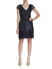 NEW! Adrianna Papell Mesh Overlay Cap sleeve Embelished Dress Navy SZ 6 #AP39
