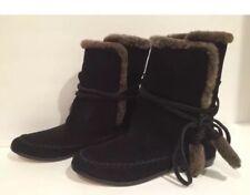 Cynthia Vincent Shearling Sheep Fur Short Flat Boots Suede Black 7 $395 New