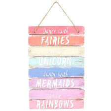 DANCE WITH THE FAIRIES RIDE A UNICORN - HANGING WOODEN WALL PLAQUE SIGN