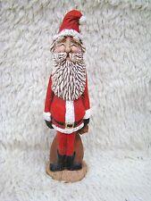 Handpainted Hollow Ceramic Eyes Closed, Rosy Cheeked Santa Figurine, Holidays