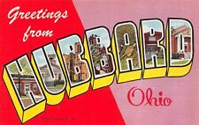 B7952 Greetings from Hubbard Ohio '53 Large Letter Linen Postcard Teich #3C-H619
