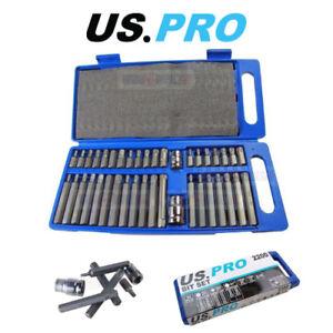 """US PRO Tools 40pc Torx / Spline & Hex Bit Set 3/8"""" & 1/2"""" Drive Bit Holder 2200"""