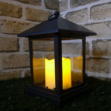 Battery Op Timer Lantern LED Pillar Flameless Outdoor Candle Hook Flickering New