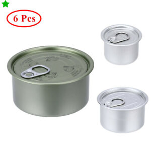 6Pc Durable Metal Sealed Tin Can with Ring Lid for Chilli Spice Tea Oil Cake Pot
