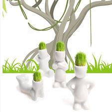 4x/lot Little Man Shape Diy Glass Desktop Green Planting Table Ceramic Vase Hair