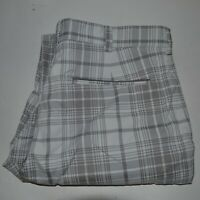 Nike Golf Pants Size 32x31 Tour Performance Gray White Plaid